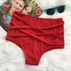 Other - Red High Waisted Swim Bottoms
